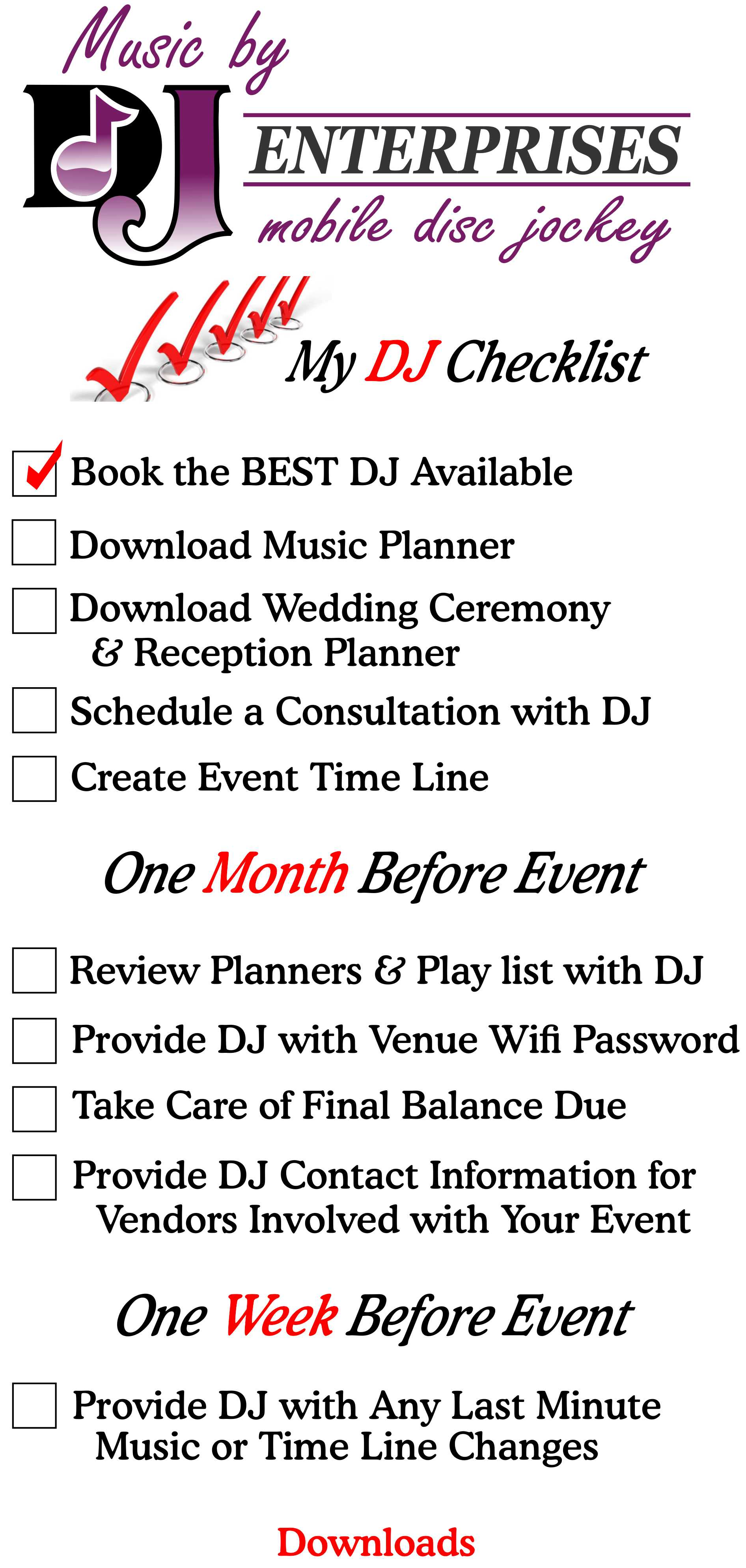 Dj Check List Djwarwick Music Planner Wedding Ceremony Reception